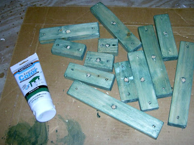 scrap wood stained green