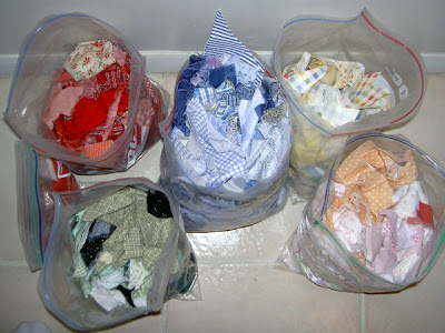 fabric scrap bags sorted by color