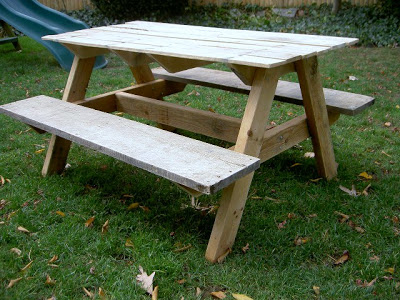 picnic table for kids from reclaimed lumber