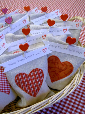 Valentine's Day goody bags in basket