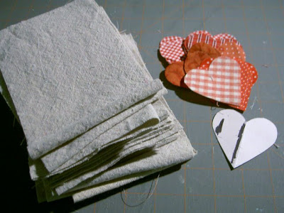 drop cloth rectangles and red cotton fabric hearts
