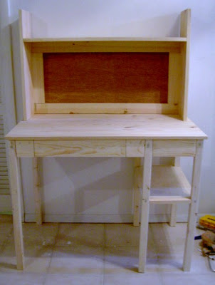diy simple desk built and ready for finish