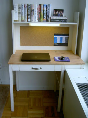simple desk made to fit custom spot