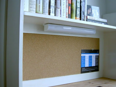 diy hutch with undermount light and book ledge