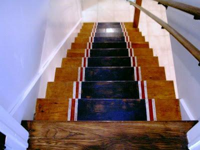 stripes painted on wood treads