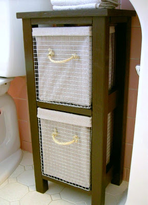 diy tiny tower for bathroom storage