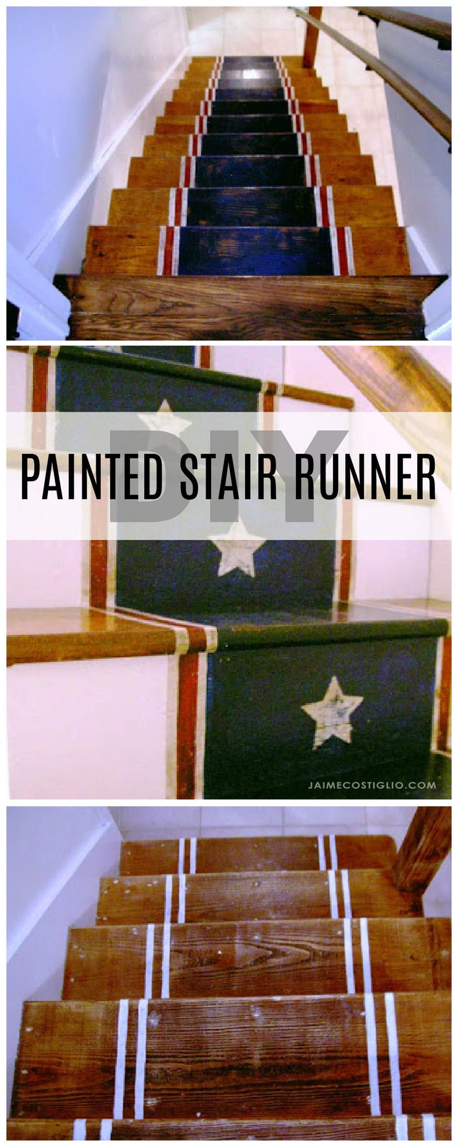 painted stair runner collage