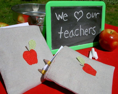 drop cloth pouch with apple graphic