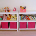 DIY Bookshelves with fabric storage bins
