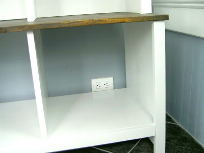bench cubbies no back access to outlet