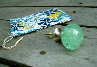 aqua glass drawer knob