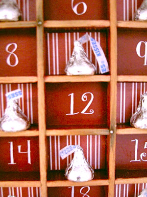 make a christmas countdown using a type tray