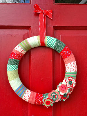 holiday fabric wrapped wreath