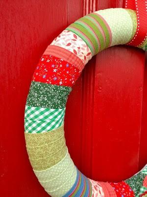 fabric strips wrapped around styrofoam form