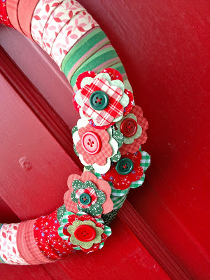 fabric flowers with button centers