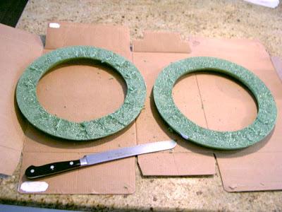 cut foam wreath in half