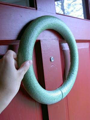 styrofoam wreath flat on door