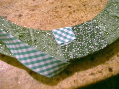 start fabric strip on backside and wrap around foam