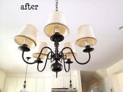 brass chandelier after