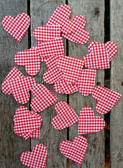 red gingham heart applique pieces
