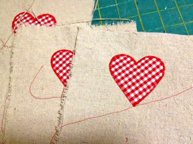 zig zag stitch heart onto front center