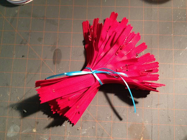 bundle of red zippers for pouches