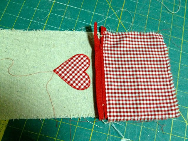 sewing zipper into one side of pouch