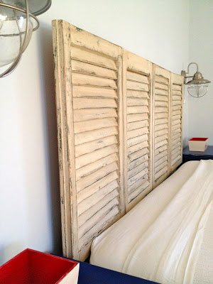master bedroom shutter headboard