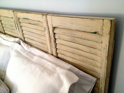 rustic distressed shutter headboard