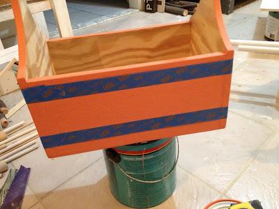 painters tape to make stripes on wood trug