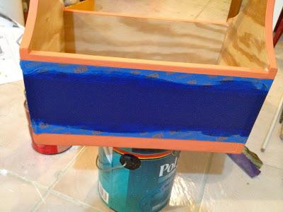 paint between painters tape to create stripe