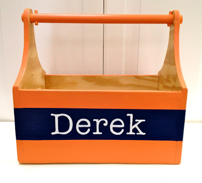 wood tote with handpainted name
