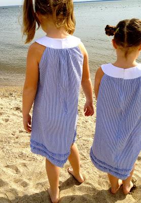 yoke neck seersucker dresses on sisters