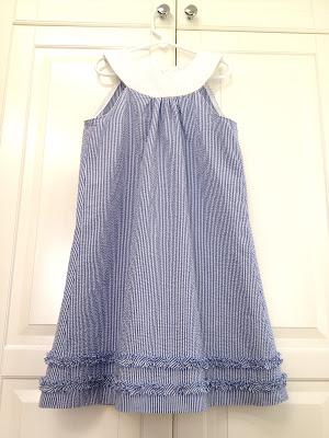 yoke neck seersucker dress