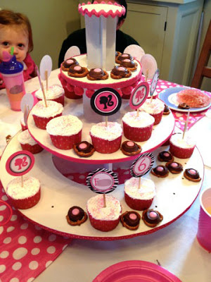barbie party cupcake tower