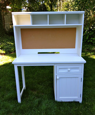refinished painted desk with hutch