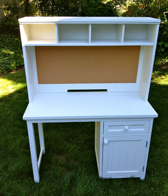 refinished desk with hutch in white enamel
