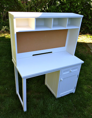 refinished desk with hutch