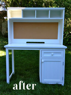 refinished painted desk with hutch after