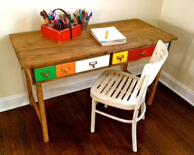 kids desk with multi color drawers