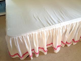 bedskirt installed on bed