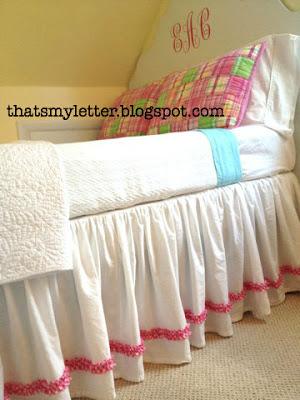 diy gathered bedskirt with ruffle trim