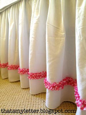 diy ruffle trim detail on bedskirt