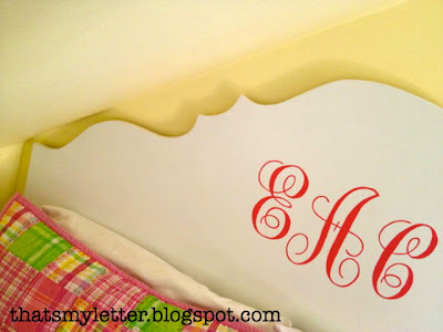 diy carved headboard with handpainted swirly monogram