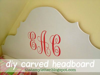 diy carved headboard with monogram
