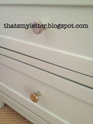 martha stewart medallion knobs on painted nightstand