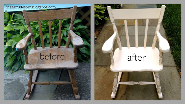 kid size rocking chair before and after