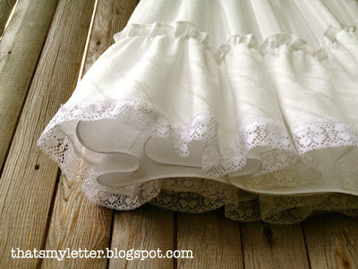 christening gown skirt portion with lace detail
