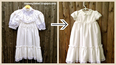 christening gown before and after