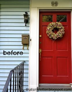 red front door before